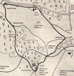 1927-1990 Länge: 8,618 km 1927-1928 Badberg-Viereck-Rennen ab 1937 Übernahme des Namens vom Grillenburger Sachsenring ab 1987 mit ein bzw. zwei Schikanen für Autos und Motorräder (später nur für Autos)