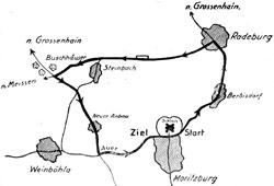 1924-1926 Länge: 28 km 1926 veränderte Streckenführung in Radeburg