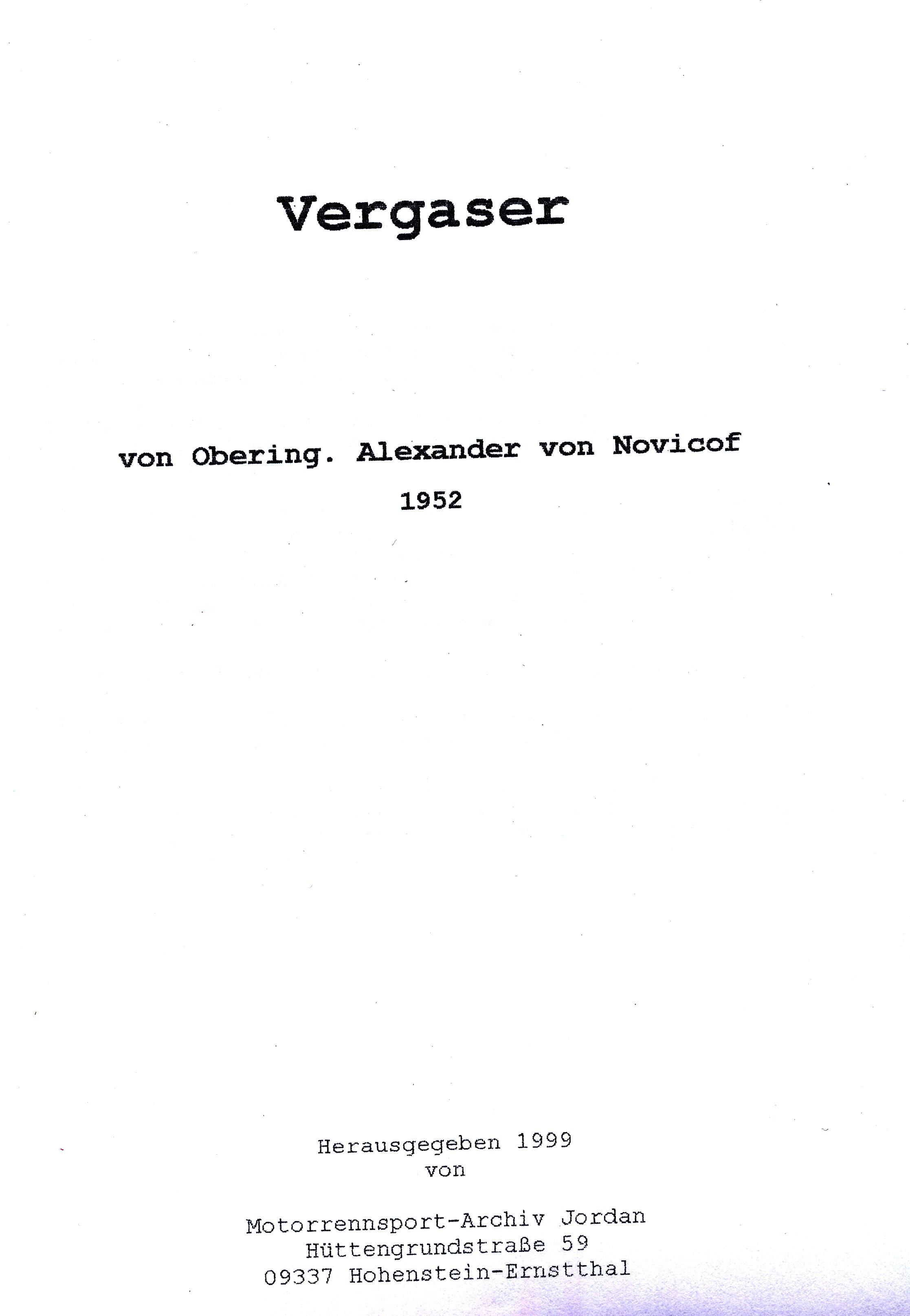 Vergaser-Manuskript