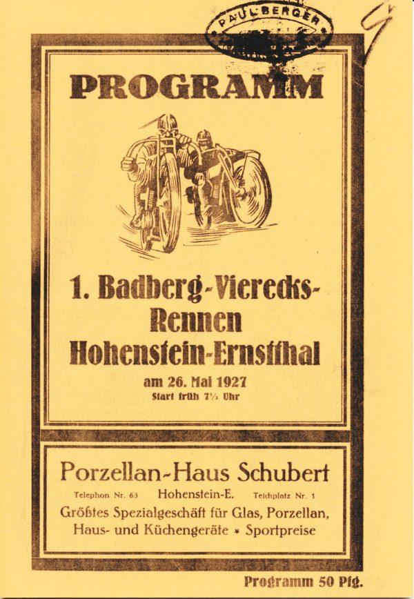 Rennprogramm 1. Badberg-Vierecks-Rennen (Reprint)