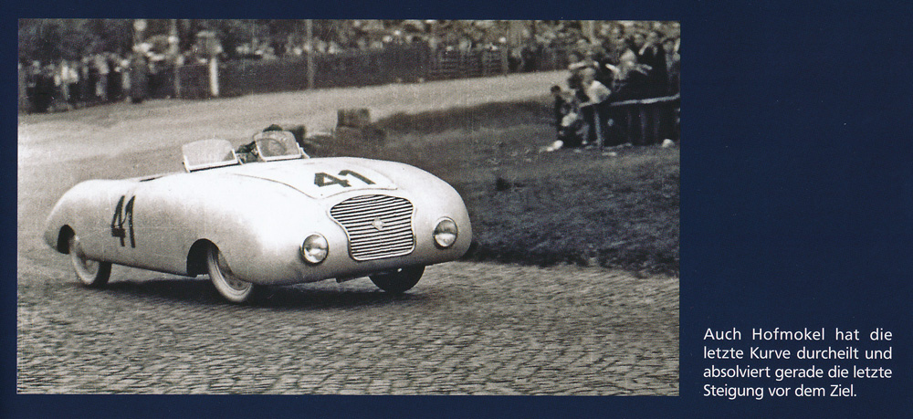 Erich Hofmokel im F9 mit Ponton-Karosserie am Queckenberg. (Buchausschnitt / Foto: motorrennsportarchiv.de)